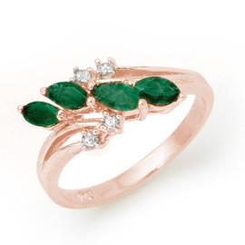 0.40 CTW Emerald & Diamond Ring 18KT Rose Gold