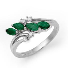 0.40 CTW Emerald & Diamond Ring 18KT White Gold