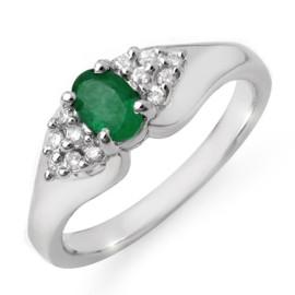 0.63 CTW Emerald & Diamond Ring 18KT White Gold