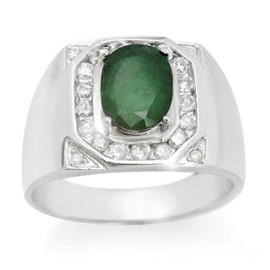 2.6 CTW Emerald & Diamond Men's Ring 14KT White Gold
