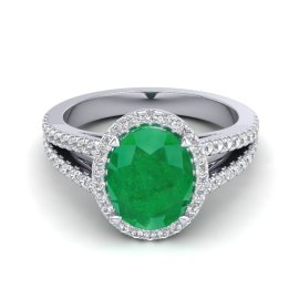 3 CTW Emerald & Diamond Ring 18KT White Gold