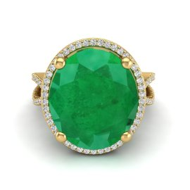 12 CTW Emerald & Diamond Ring 18KT Yellow Gold