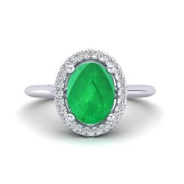 2 CTW Emerald & Diamond Ring 18KT White Gold