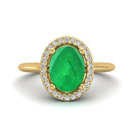 2 CTW Emerald & Diamond Ring 18KT Yellow Gold