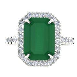 5.33 CTW Emerald & Diamond Ring 18KT White Gold