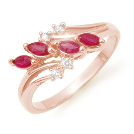 0.40 CTW Ruby & Diamond Ring 18KT Rose Gold
