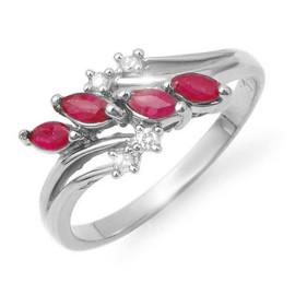0.40 CTW Ruby & Diamond Ring 18KT White Gold