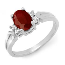 1.29 CTW Ruby & Diamond Ring 18KT White Gold