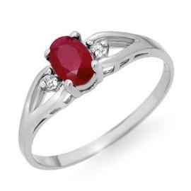 0.77 CTW Ruby & Diamond Ring 18KT White Gold