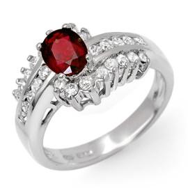1.60 CTW Ruby & Diamond Ring 18KT White Gold