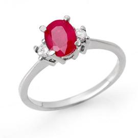 1.36 CTW Ruby & Diamond Ring 18KT White Gold
