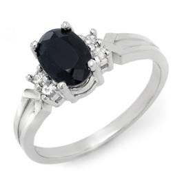 1.29 CTW Sapphire & Diamond Ring 18KT White Gold