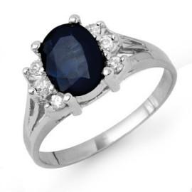 2.14 CTW Sapphire & Diamond Ring 18KT White Gold