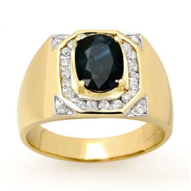 3.1 CTW Sapphire & Diamond Men's Ring 14KT Yellow Gold