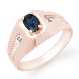 0.68 CTW Sapphire & Diamond Men's Ring 18KT Rose Gold