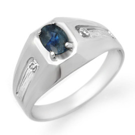 0.68 CTW Sapphire & Diamond Men's Ring 18KT White Gold