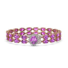 14.1 CTW Amethyst Bracelet 14KT Rose Gold
