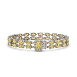 13.88 CTW Citrine Bracelet 14KT White Gold