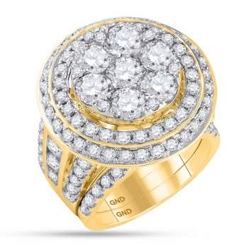 7.04 CTW Diamond Cluster Bridal Engagement Ring 14KT Yellow Gold