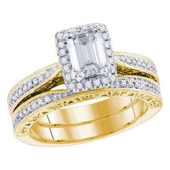 1.71 CTW Emerald Diamond Bridal Wedding Engagement Ring 14KT Yellow Gold