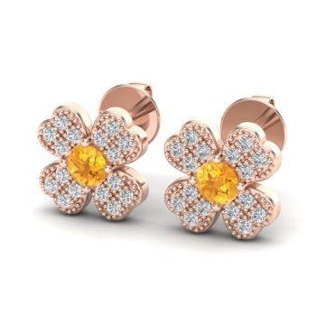 0.54 CTW Citrine & Diamond Earrings 14KT Rose Gold