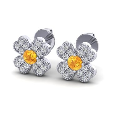 0.54 CTW Citrine & Diamond Earrings 18KT White Gold