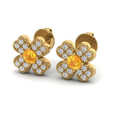 0.54 CTW Citrine & Diamond Earrings 18KT Yellow Gold