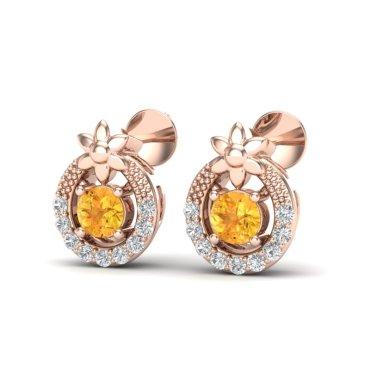 0.40 CTW Citrine & Diamond Earrings 14KT Rose Gold