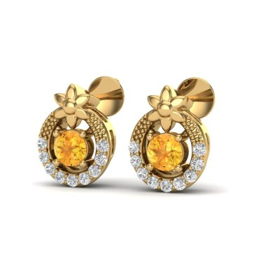 0.40 CTW Citrine & Diamond Earrings 18KT Yellow Gold