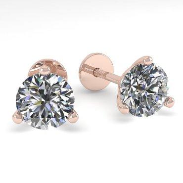 0.50 CTW Diamond Earrings 14KT Rose Gold