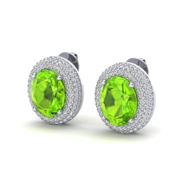 9 CTW Peridot & Diamond Earrings 18KT White Gold