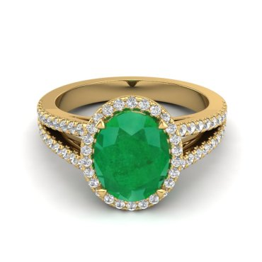 3 CTW Emerald & Diamond Ring 18KT Yellow Gold