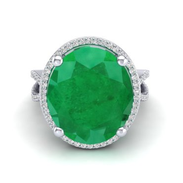 12 CTW Emerald & Diamond Ring 18KT White Gold