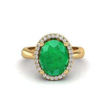 3 CTW Emerald & Diamond Ring 18KT Yellow Gold