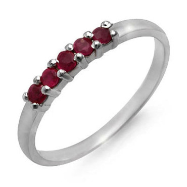 0.25 CTW Ruby Ring 18KT White Gold