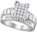 1 CTW Diamond Rectangle Cluster Bridal Engagement Ring 10KT White Gold