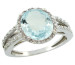 Natural 3.09 ctw Aquamarine & Diamond Engagement Ring 14K White Gold