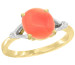 Natural 2.01 ctw Coral & Diamond Engagement Ring 10K Yellow Gold