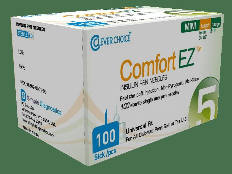 Comfort EZ 5mm 31G Insulin Pen Needles - 100 count