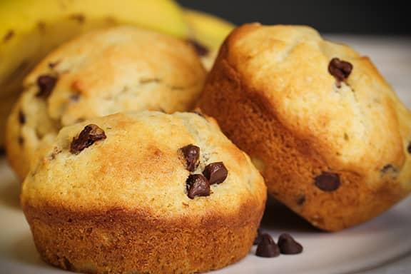 Three banana and chocolate mini muffins