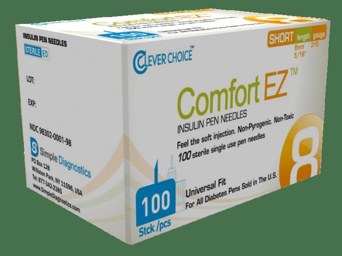 Comfort EZ 8mm 31G Insulin Pen Needles - 100 count