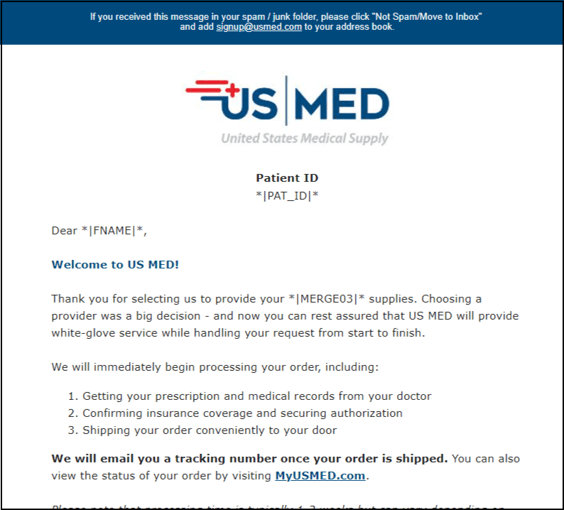 Welcome Email Patient ID