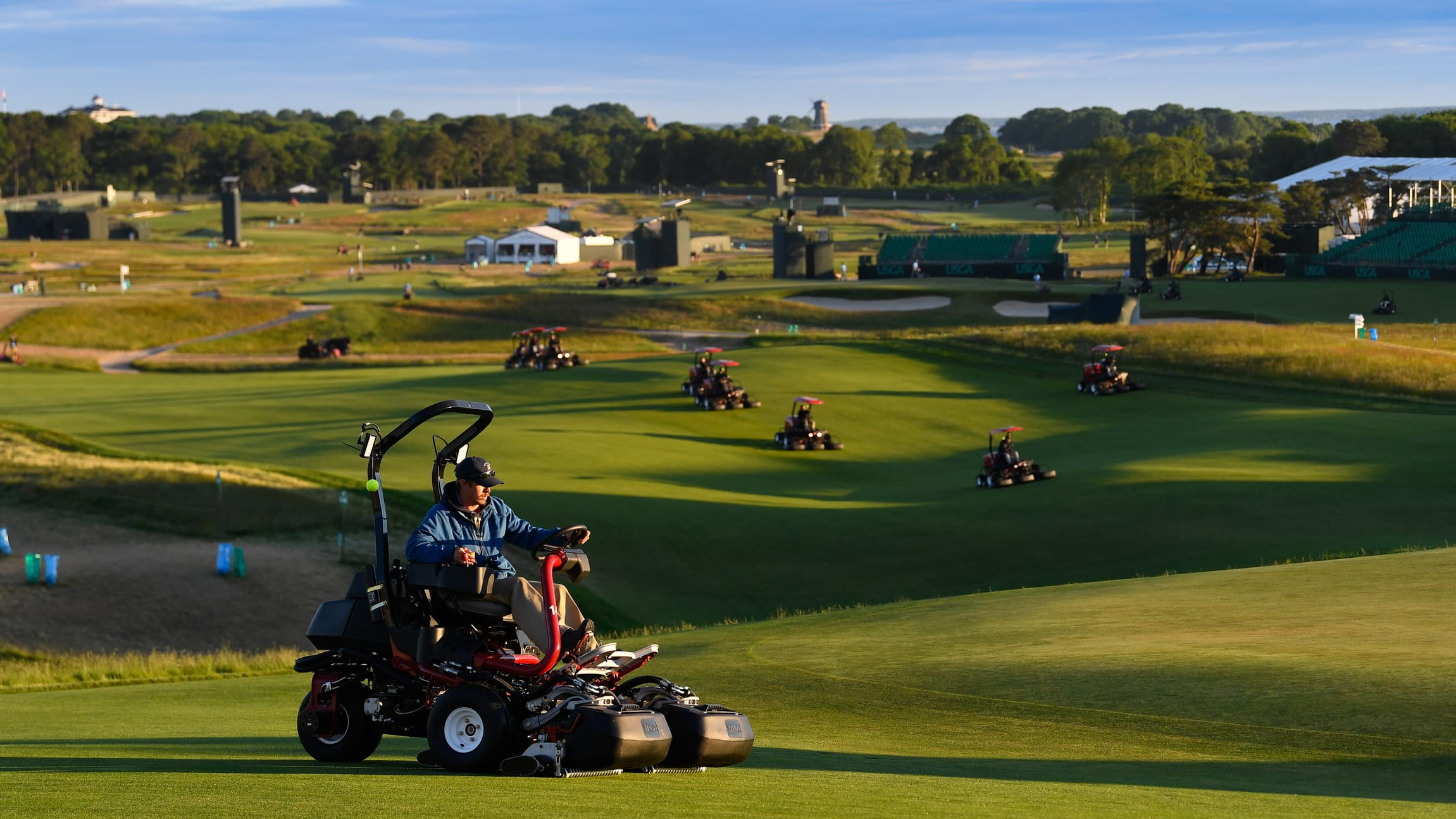 3faa6677c99 Maintenance workers preparing the course for the second round of the 2018  U.S. Open at Shinnecock Hills Golf Club in Southampton
