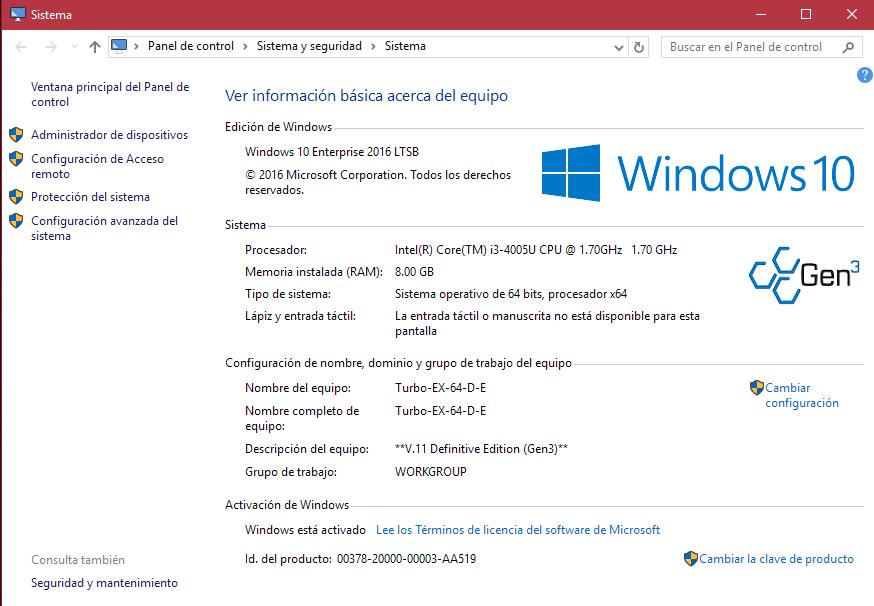 Windows 10 turbo v11 gen3