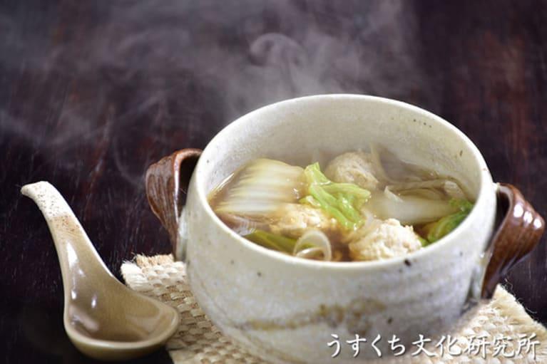 白菜と鶏だんごのスープの完成イメージ