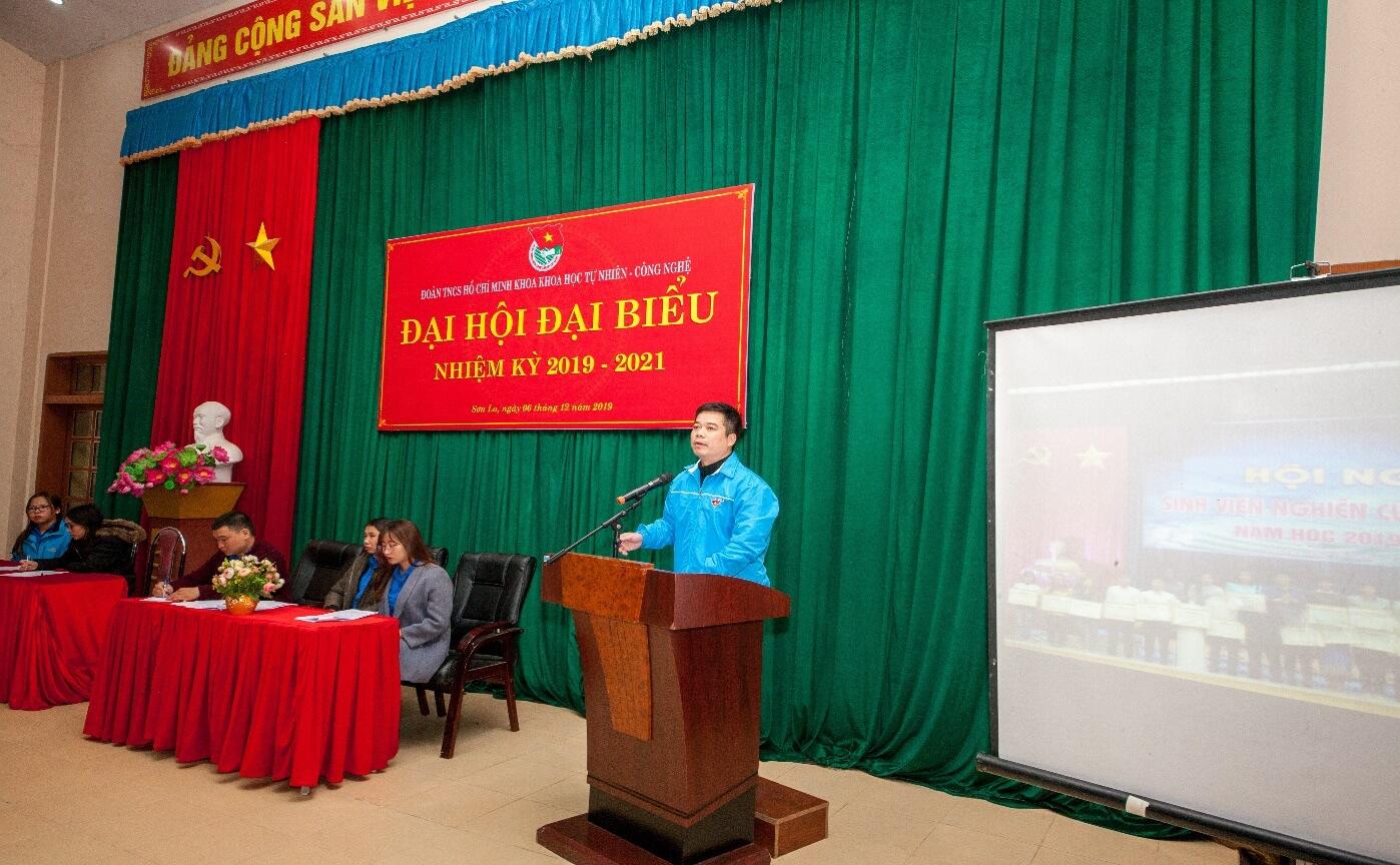 Đ/c Vũ Tiến Thuận - Phó bí thư Đoàn Trường ĐHTB phát biểu tại Đại hội