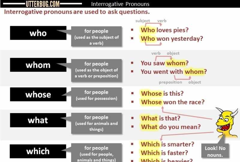 Infographics of Interrogative Pronouns