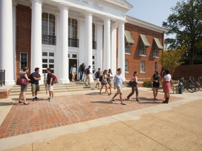 Students walking outside of Garrett Hall