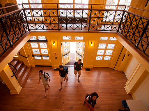 Students walking through front of Garrett Hall - Interior