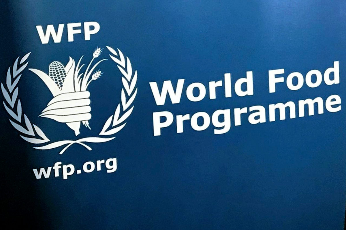 The U.N. World Food Program's logo at the agency's headquarters in New York. AP Photo/Robert Bumstead